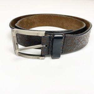 brown leather Skull Belt silver buckle sz 38 large